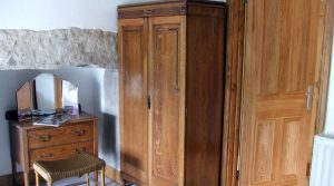 Inglenook fireplace , double bedroom. Isaac's Byre holiday cottage Garrigill Alston