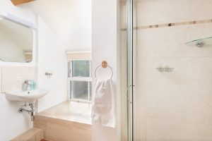 Shower next to upstairs twin room.